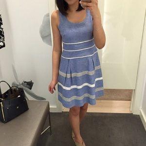 Ann Taylor Textured Stripe Flare Dress -D
